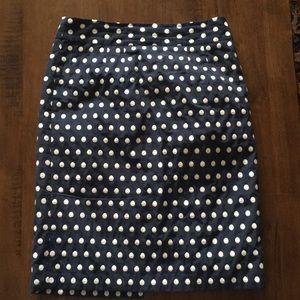 Navy Polka Dot Pencil Skirt from BR, sz 4